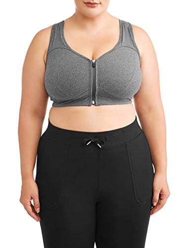 Athletic Works Women's Plus Size Zipper Front Sports Bra, Charcoal, 5X