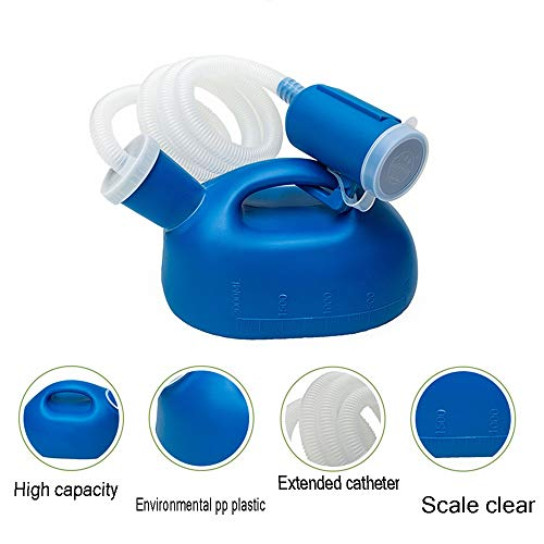 Urinal MAZHONGWU Multifunctional Male Portable 2000ml Large Capacity with 1.3m Extension Catheter-Elderly Hospital Care Tourism Use Odor and Leak Proof