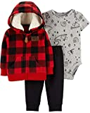 Carter's Baby Boys` 3-Piece Little Jacket Set, Red Plaid, 9 Months