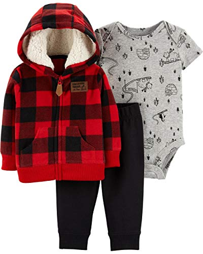 Carter's Baby Boys` 3-Piece Little Jacket Set, Red Plaid, 18 Months