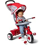 Radio Flyer Ez Quick Fold Stroll 'N Sturdy Steel Frame 4 Ways to Ride Children's Red Trike with Height-adjustable Push-handle and Canopy