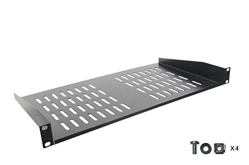 Rack Shelf - Universal Cantilever Vented 1U Rack Tray for 19-inch Server Racks and Cabinets - Premium Heavy Duty Cold Rolled Steel Designed to Hold Network and AV Equipment ()