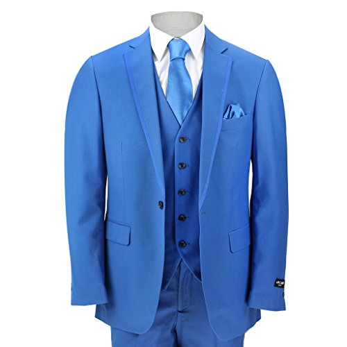 "Mens 3 Piece Royal Blue Fitted Suit Wedding Prom Party Blazer Trouser Waistcoat[156-310A,Chest UK 48 EU 58,Trouser 42"",Blue] from xposed"