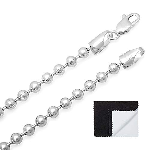 (4mm 925 Sterling Silver Nickel-Free Pallini Style Bead Chain, 24