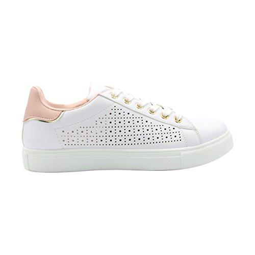 Gnd Fashion-dames Laser Gesneden Lace-up Fashion Sneaker Wit