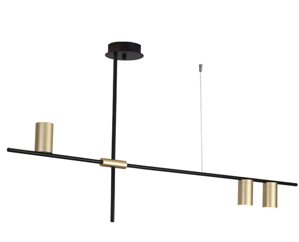 BOKT Contemporary Minimalist 3-Light Kitchen Island Pendant, Matte Black with Antique Brass Lampshade Finish, Geometric Modern Linear Chandelier Lighting Fixture with Led Bulbs