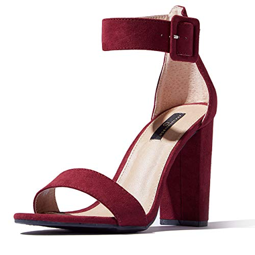 DailyShoes Women's Chunky Heel Sandal Open Toe with Buckle Ankle Strap Casual Dress Sandals, Wine Suede, 6.5 B(M) US