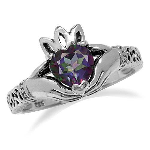 Heart Shape Mystic Fire Topaz 925 Sterling Silver Irish Claddagh & Triquetra (Topaz Celtic Claddagh Ring)