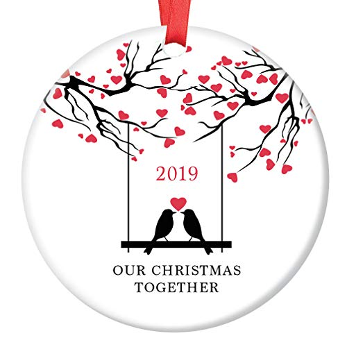 Our Christmas Together 2019 Ornament Love Birds Ceramic Keepsake Gift Idea Loving Couple Winter Holiday Pair Boyfriend Girlfriend Husband Wife 3