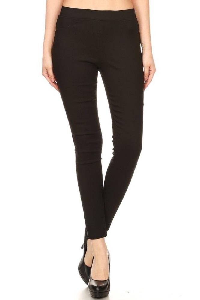 Women's Cotton Blend Super Stretchy Skinny Solid Jeggings Black X-Large
