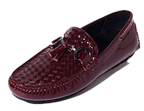 HAPPYSHOP(TM) Mens Genuine Leather Casual Weave SLIP-ON Business Penny Loafer Driving Shoes Coffee q5FFI