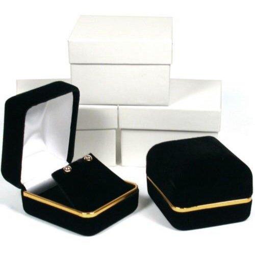 FindingKing 3 Black Velvet Earring Jewelry Gift Boxes ()