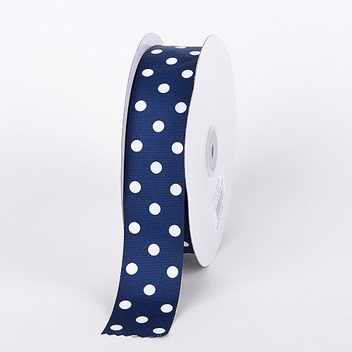 BBCrafts 7/8 inch x 50 Yards Grosgrain Polka Dot Ribbon Decoration Wedding Party (Navy Blue with White Dots) (Blue Polka Dot Grosgrain Ribbon)