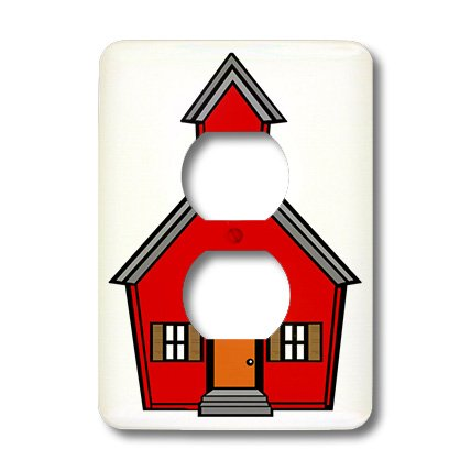 3dRose lsp_44812_6 Red Schoolhouse 2 Plug Outlet Cover