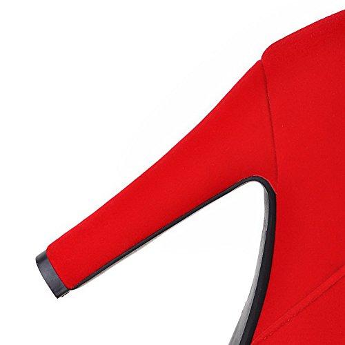 AllhqFashion Mujeres Puntera Redonda Caña Baja Sólido Gamuza(Imitado) Botas con Hebilla Rojo
