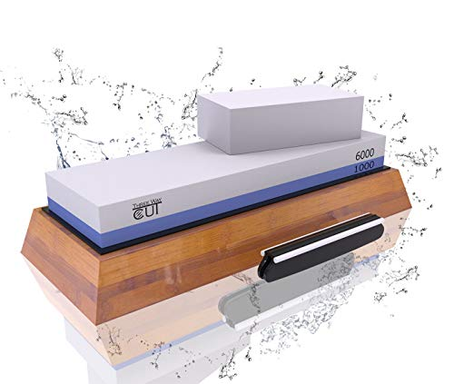 (Premium Knife Sharpening Stone Kit 2 Side Whetstone Set 1000/6000 Grit Sharpening and Honing Waterstone Best Sharpener for Chefs Kitchen Knives Anti-slip Stone Holder Base Flattening Stone Angle Guide)