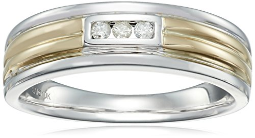 [Men's 10k Yellow and White Gold Diamond Gents Ring (1/10cttw, I-J Color, I3 Clarity), Size 10.5] (Gold Gents Ring)