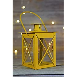 "Fantado 4.5"" Yellow Square Hurricane Candle Lantern by PaperLanternStore"