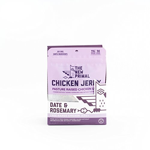 The New Primal Date & Rosemary Chicken Jerky, AIP, Paleo, Gluten & Soy Free, Free-Range, Keto, No Added Sugar, 2oz., Pack of 8
