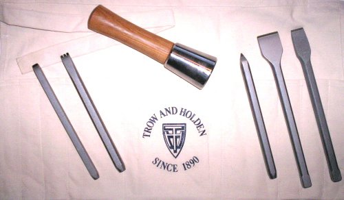 HARD STONE HAND CARVING SET WITH ROUND HAMMER by Trow and Holden