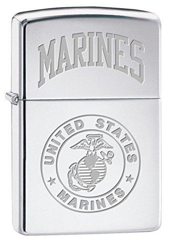 Zippo USMC Seal High Polish Chrome Pocket (Usmc Seal)