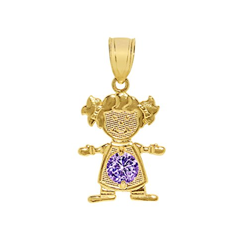 Precious Stars Jewelry 14k Yellow Gold Round-Cut Cubic Zirconia June Birthstone Girl/Daughter Pendant