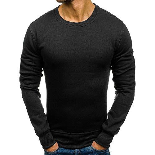 YOcheerful Men's Sweatshirt Long Sleeve Pullover Slim Fit Shirt Tee Top Knitted (Black,L) from YOcheerful