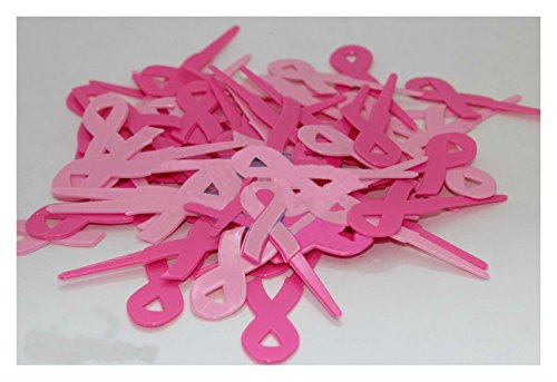 Breast Cancer Ribbon cake cupcake toppers Picks pink awareness #24 topper Baking -