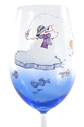 [Hand Painted Snowfolks Wine Glass Design, Arctic Ice Fishing Snowman and Reel Fun Loving Fish, 20 oz, Glacier] (Blue Drinking Hat)