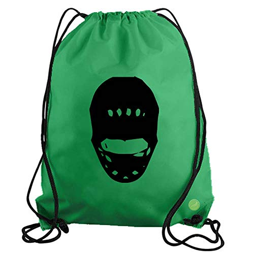 Goalie Mask Drawstring Gym Bag workout cinch nylon backpack (green) b20824