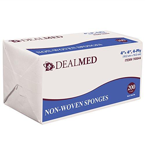 "Dealmed Gauze Pads, Non-Sterile, Non Woven, 4"" x 4"", 4 Ply, 200/Bx"
