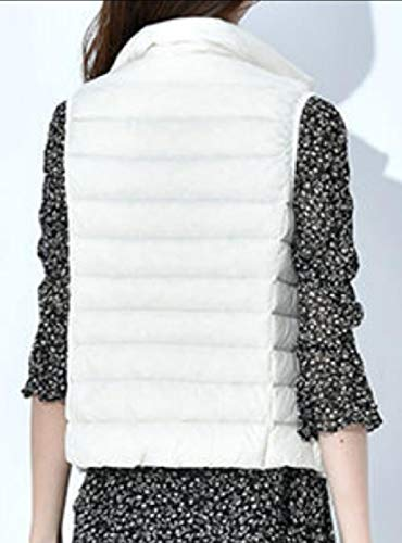 Zip Stand Women's Vest Lightweight TTYLLMAO Gilet Jacket White Quilted Collar R4wcx