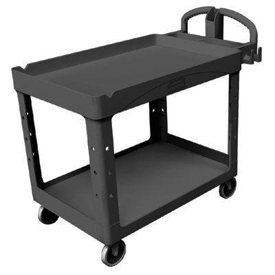 l Heavy-Duty Utility Cart, 750-lb Cap., 2 Shelves, 25 1/4 x 54 x 43 1/8, Black - cart. (Rubbermaid 2 Shelf Utility Cart)
