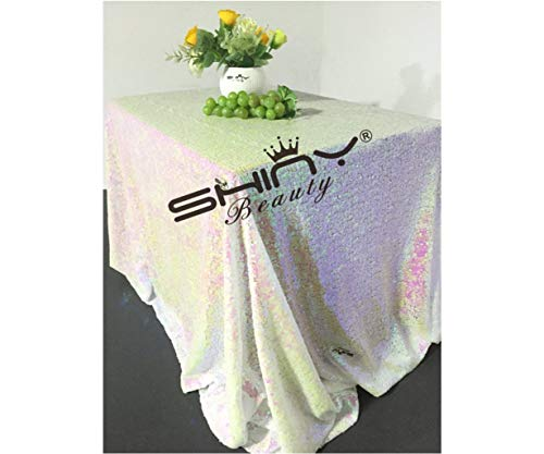 ShinyBeauty 50x50Inch Square Iridescent White Sequin Tablecloth,50x50Inch Tablecloth