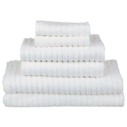 認定オーガニックコットンホワイトリブ編みタオルコレクション( 550-gram重量) Washcloth ホワイト OrganicRibbedTowels B017HUJ2HM  Washcloth