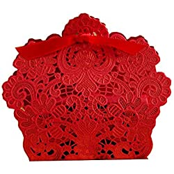 PONATIA 50 PCS Laser Cut With Ribbon Wedding Party Favor, Wedding Gift Bags Chocolate Candy and Gift Boxes (Red)