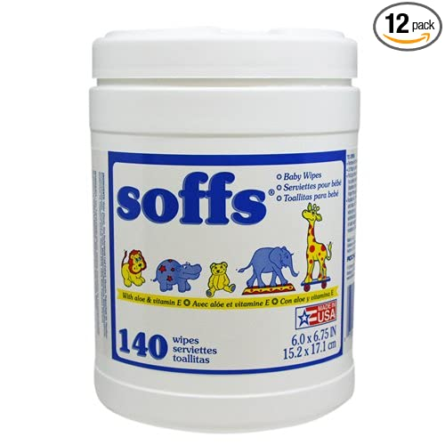 Amazon.com: Soffs Baby Wipes, Travel Pack with Dispenser Canister Scented, 140-count Tubs (Pack of 12): Health & Personal Care
