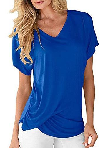 Branch Plier Et Shirts Blau V Haut Mode Farbe Uni T lgant Courtes Classique Femme Shirt Fille Cou Manche Manches Tshirt Casual Confortable P5qfwxapf