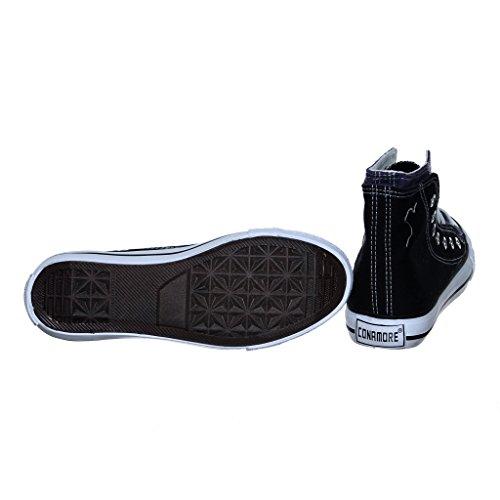 Nuovo Stile!! Sneakers Alte Da Donna In Canvas Nero / Viola