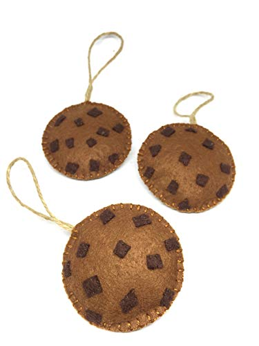 Christmas Ornaments for Cookie Monsters Set of 3 Retro Decor Felt Hanging Bauble with Burlap Twine
