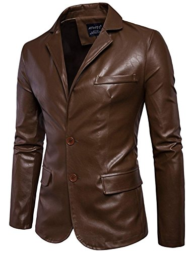Mens Faux Leather Jacket Notched Lapel PU Jacket Men Two Button Blazer Jackets Dark Brown