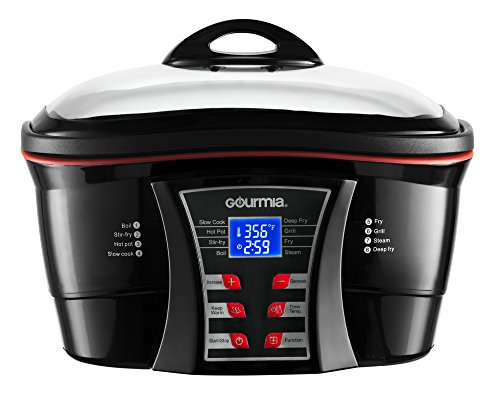 Gourmia GMC700 Supreme 8 in 1 Digital Multi-Function Cooker - Fry Basket, Roast/Steam Racks - Glass Lid - 5.5 Qt - 1500W - Black - Free Recipe Book
