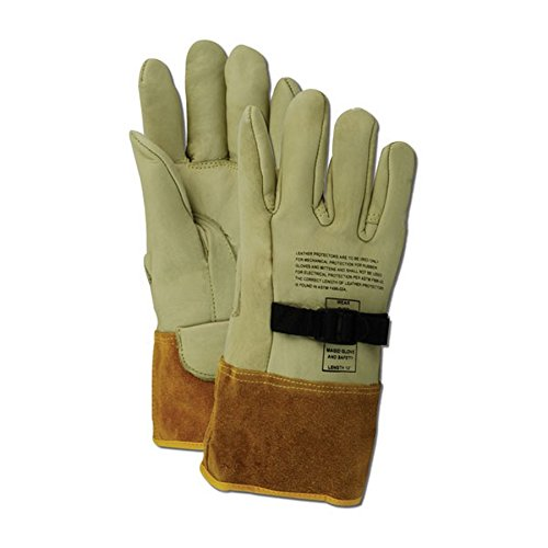 """Magid Glove & Safety 60611PS-10 Magid Power Master 60611PS 12"""" High Voltage Leather Protector Gloves, Tan, Size 10 (1 Pair)"""