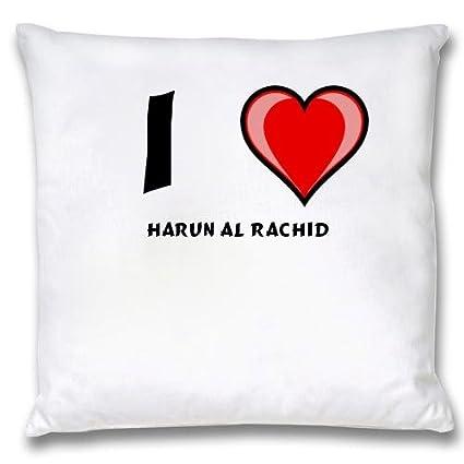 Ropa de almohada blanca con Amo Harun Al Rachid (nombre de pila/apellido/