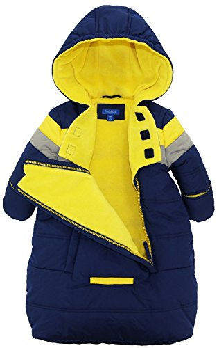 iXtreme Baby Boys Snowsuit Colorblock Stripes Puffer Carbag, Navy, 6-9 Months by iXtreme (Image #2)