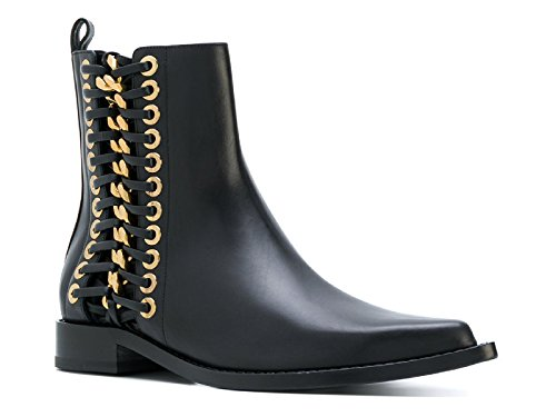 Alexander McQueen Women's Black Calf Leather Ankle Boots - Booties Shoes - Size: 6 US