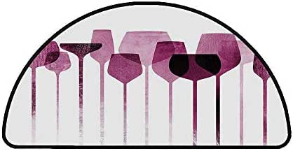 Wine Comfortable Semicircle Mat,Conceptual Collage Artwork with Paper Textured Party Glasses Alcohol Drink Print Decorative for Living Room,31.4