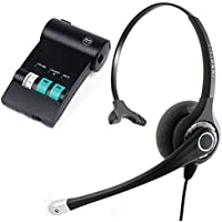 Avaya Lucent ATT Partner phone T7316, T7316e, MLS-12 Headset and Amplifier - Sound Emphasis Pro Monaural Office Noise Cancel Headset