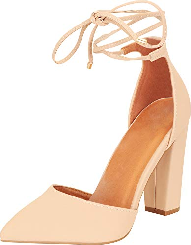 Heel Dorsay Pump - Cambridge Select Women's D'Orsay Closed Pointed Toe Ankle Tie Chunky Block Heel Pump (7.5 B(M) US, Nude)