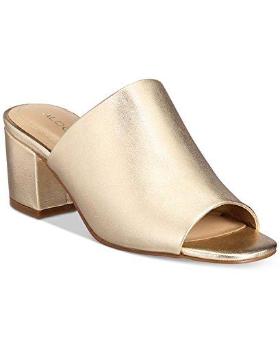 ALDO Womens Alaska Peep Toe Mules Sandal Gold Size 7.5 M US